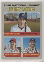 League Leaders - Christian Yelich, Freddie Freeman, Scooter Gennett [EX to…