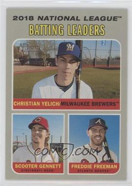 2019 Topps Heritage - [Base] #61 - League Leaders - Christian Yelich, Freddie Freeman, Scooter Gennett