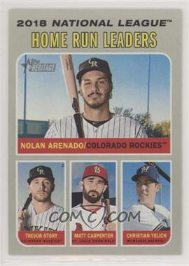 2019 Topps Heritage - [Base] #65 - League Leaders - Christian Yelich, Matt Carpenter, Trevor Story, Nolan Arenado