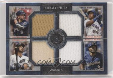 2019 Topps Museum Collection - Primary Pieces Four Player Quad Relics #FPR-RASC - Ryan Braun, Jesus Aguilar, Lorenzo Cain, Travis Shaw /99
