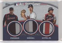 Freddie Freeman, Mike Soroka, Ronald Acuna Jr. [EX to NM] #/25