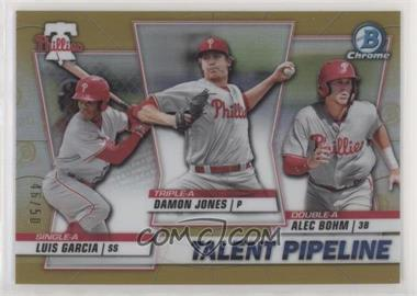 2020 Bowman - Talent Pipeline Trios Chrome - Gold Refractor #TP-PHI - Damon Jones, Alec Bohm, Luis Garcia /50