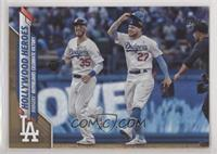 Checklist - Hollywood Heroes (Dodgers Outfielders Celebrate Victory) #/2,020