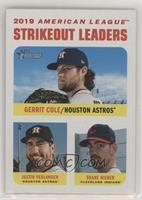 League Leaders - Justin Verlander, Shane Bieber, Gerrit Cole #/50