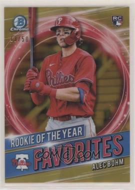 2021 Bowman - Rookie of the Year Favorites - Gold Refractor #RRY-AB - Alec Bohm /50