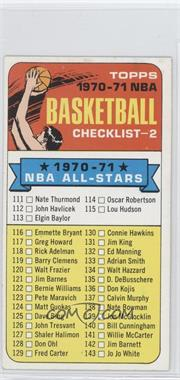 "1970-71 Topps - [Base] #101.1 - Checklist (""1970-71"" in Black on Front)"