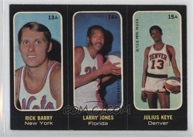 1971-72 Topps - Trios Stickers #13A-14A-15A - Rick Barry, Larry Jones, Julius Keye