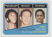 1971-72 NBA Scoring Leaders (Kareem Abdul-Jabbar, John Havlicek, Nate Archibald)