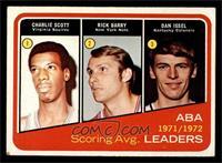 1971-72 ABA Scoring Avg. Leaders (Charlie Scott, Rick Barry, Dan Issel) [EX]
