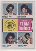 New York Nets Team Leaders (Julius Erving, John Roche, Larry Kenon) [Good…