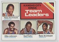 Kansas City Kings Team Leaders (Ollie Johnson, Sam Lacey, Nate Archibald)