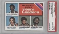 Milwaukee Bucks Team Leaders (Kareem Abdul-Jabbar, Mickey Davis) [PSA 8&nb…