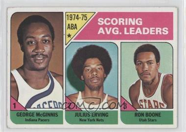 1975-76 Topps - [Base] #221 - Scoring Avg. Leaders (George McGinnis, Julius Erving, Ron Boone) [GoodtoVG‑EX]