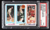 Fred Brown, Larry Bird, Ron Brewer [PSA 9 MINT]