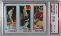 Fred Brown, Larry Bird, Ron Brewer [PSA 8 NM‑MT]