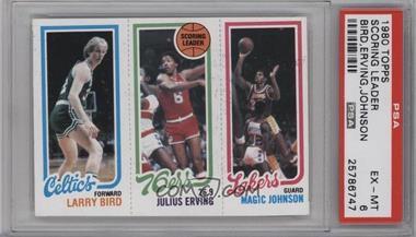 1980-81 Topps - [Base] #LBJEMJ - Larry Bird, Julius Erving, Magic Johnson [PSA6EX‑MT]