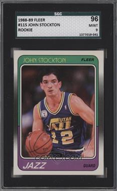 1988-89 Fleer - [Base] #115 - John Stockton [SGC9MINT]