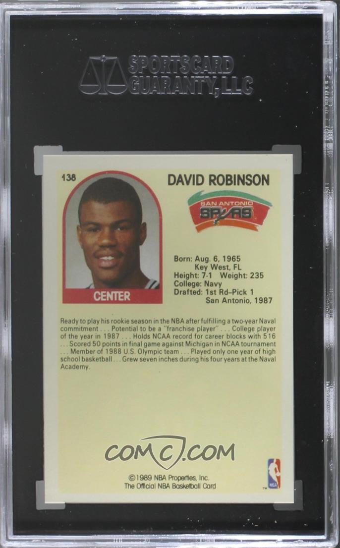 1989 90 Nba Hoops Base 138 David Robinson Sgc 9 Mint