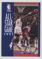 Patrick Ewing, Karl Malone (Michael Jordan in Background)