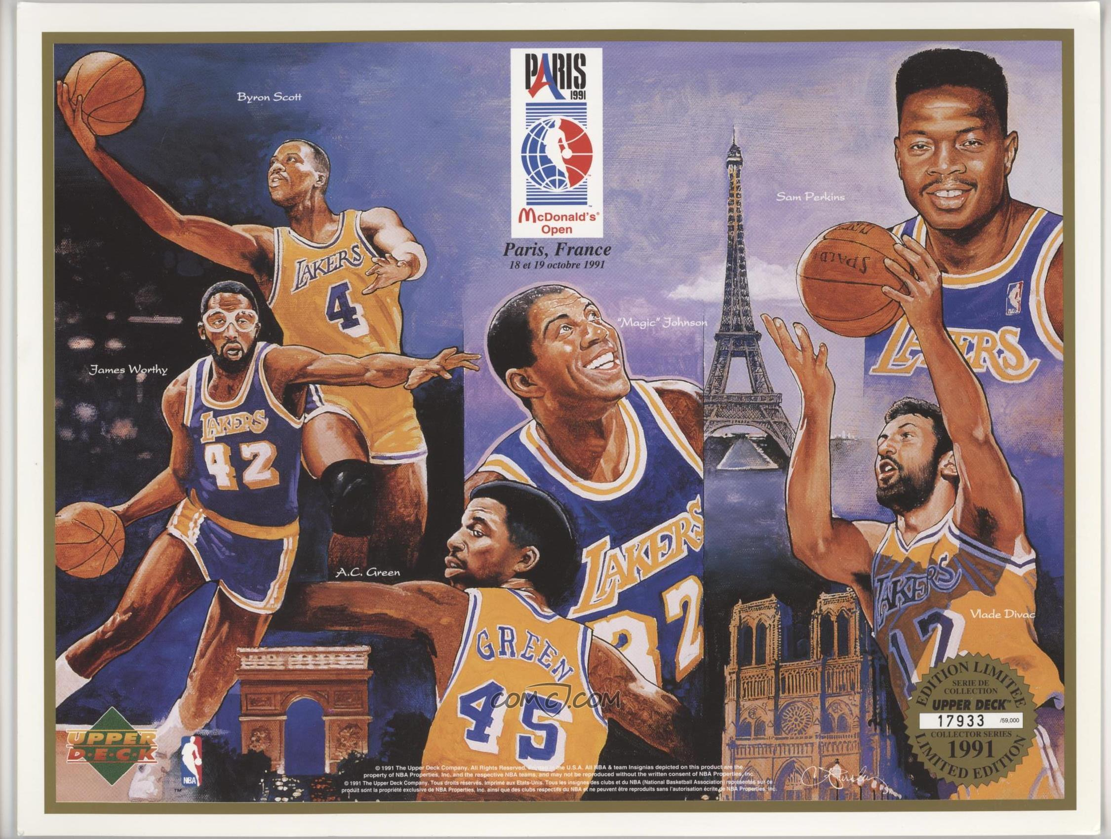 d8f520fc8 1991-92 Upper Deck McDonald s Open Paris Los Angeles Lakers -  Base ...