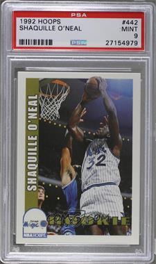 1992-93 NBA Hoops - [Base] #442 - Shaquille O'Neal [PSA9]
