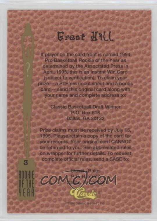 1994 Classic Rookie Of The Year Sweepstakes 3 Grant Hill 6225