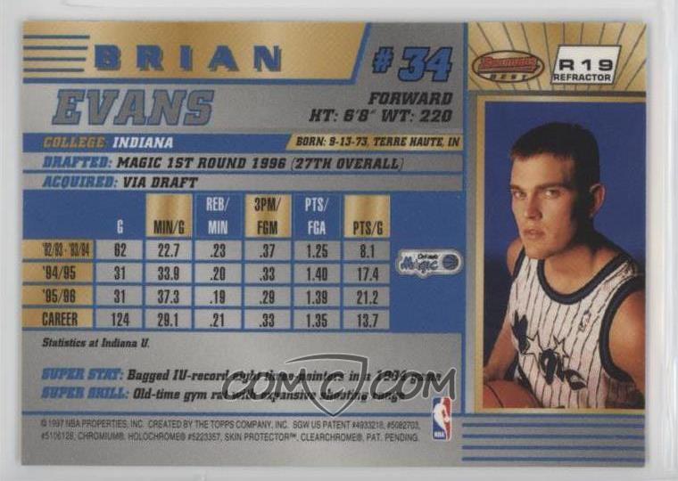 1996-97 Bowman's Best - Rookies - Refractor #R19 - Brian Evans