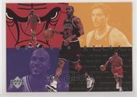 Michael Jordan, Dennis Rodman, Toni Kukoc, Ron Harper, Scottie Pippen