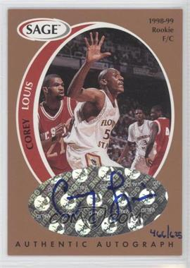1998 SAGE - Authentic Autograph - Bronze #A25 - Corey Louis /625