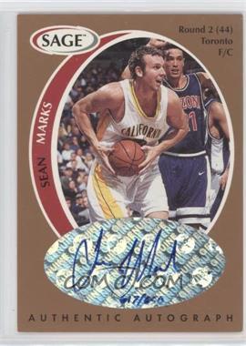 1998 SAGE - Authentic Autograph - Bronze #A28 - Sean Marks /650