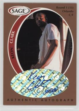 1998 SAGE - Authentic Autograph - Bronze #A9 - Keon Clark /650