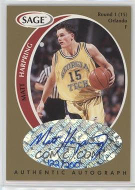 1998 SAGE - Authentic Autograph - Gold #A17 - Matt Harpring /200