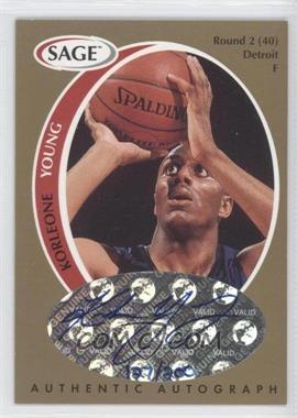 1998 SAGE - Authentic Autograph - Gold #A50 - Korleone Young /200