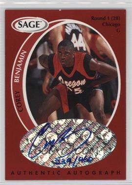 1998 SAGE - Authentic Autograph #A2 - Corey Benjamin /960