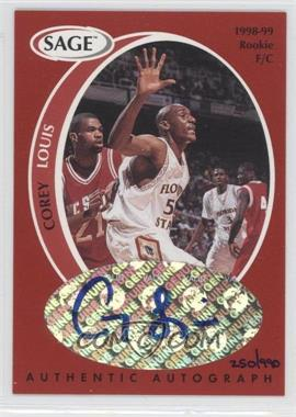 1998 SAGE - Authentic Autograph #A25 - Corey Louis /990
