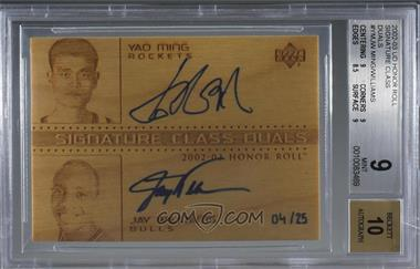 2002-03 Upper Deck Honor Roll - Signature Class - Duals [Autographed] #YM/JW-S - Yao Ming, Jay Williams /25 [BGS 9 MINT]