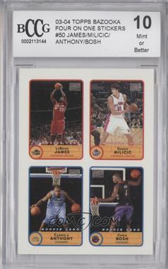 2003-04 Bazooka - Stickers #50 - Lebron James, Carmelo Anthony, Chris Bosh, Darko Milicic [ENCASED]