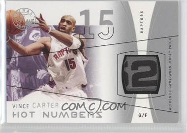 2003-04 Flair Final Edition - Hot Numbers Jerseys - Silver Patch #HN-VC - Vince Carter /50