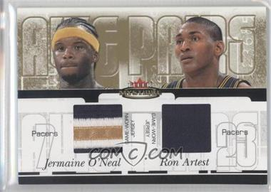 2003-04 Fleer Mystique - Awe Pairs - Parallel 35 Dual Jersey #AP-JO/RA - Jermaine O'Neal, Metta World Peace /35