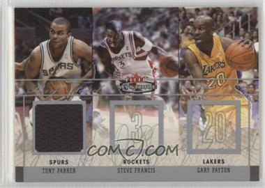 2003-04 Fleer Mystique - Rare Finds - Jersey #RF-TP - Tony Parker, Steve Francis, Gary Payton /300