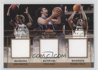 2003-04 Fleer Mystique - Rare Finds - Triple Jersey #RFT-DN/SN/MF - Dirk Nowitzki, Steve Nash, Michael Finley /150