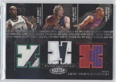 2003-04 Hoops Hot Prospects - Hot Triple Patches #G/N/C - Kevin Garnett, Dirk Nowitzki, Vince Carter /50