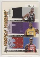 Tim Duncan, Shaquille O'Neal, Kevin Garnett #/25