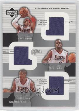 2003-04 Upper Deck Honor Roll - All-NBA Authentics - Triple Warm-Ups #AI/AM/ES - Allen Iverson, Aaron McKie, Eric Snow