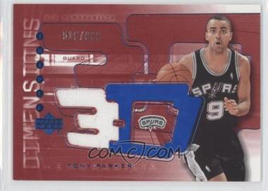 2003-04 Upper Deck Triple Dimensions - 3-D Memorabilia - Warm-Up #3DW37 - Tony Parker /999
