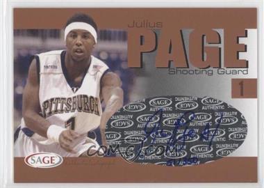 2004-05 Sage Autographed Basketball - Authentic Autograph - Bronze #A24 - Julius Page /350