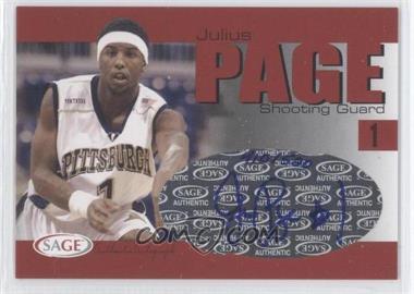 2004-05 Sage Autographed Basketball - Authentic Autograph #A24 - Julius Page /520