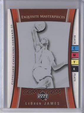 2004-05 Upper Deck Exquisite Collection - Exquisite Masterpieces - Framed Printing Plate Black #8 - Lebron James /1