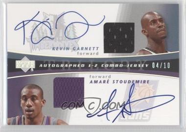 2004-05 Upper Deck Trilogy - Autographed 1-2 Combo Jersey - [Autographed] #AUJ-GS - Amare Stoudemire, Kevin Garnett /10