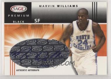2005 SAGE - Premium Portrait Autographs - Black #P19 - Marvin Williams /25